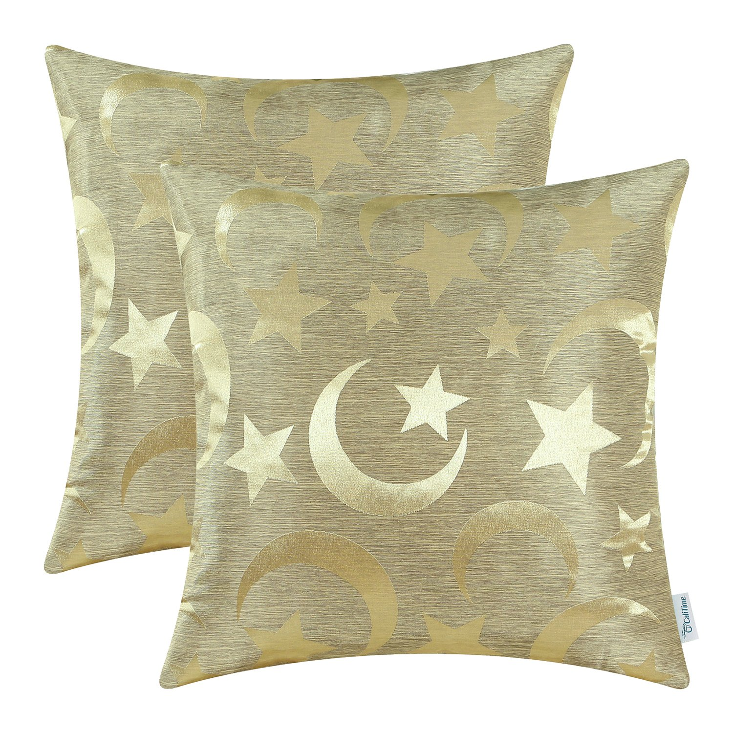 CaliTime Pack of 2 Throw Pillow Covers Cases for Couch Sofa Home Decor Modern Shining & Dull Contrast Stars & Moon 18 X 18 Inches Gold