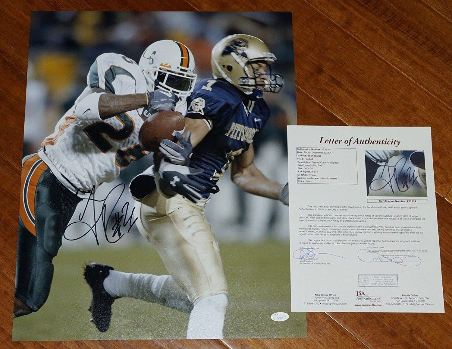 new products ff170 c8e39 Signed Sean Taylor Photo - #26 Fitz INT 16x20 + COA Letter ...