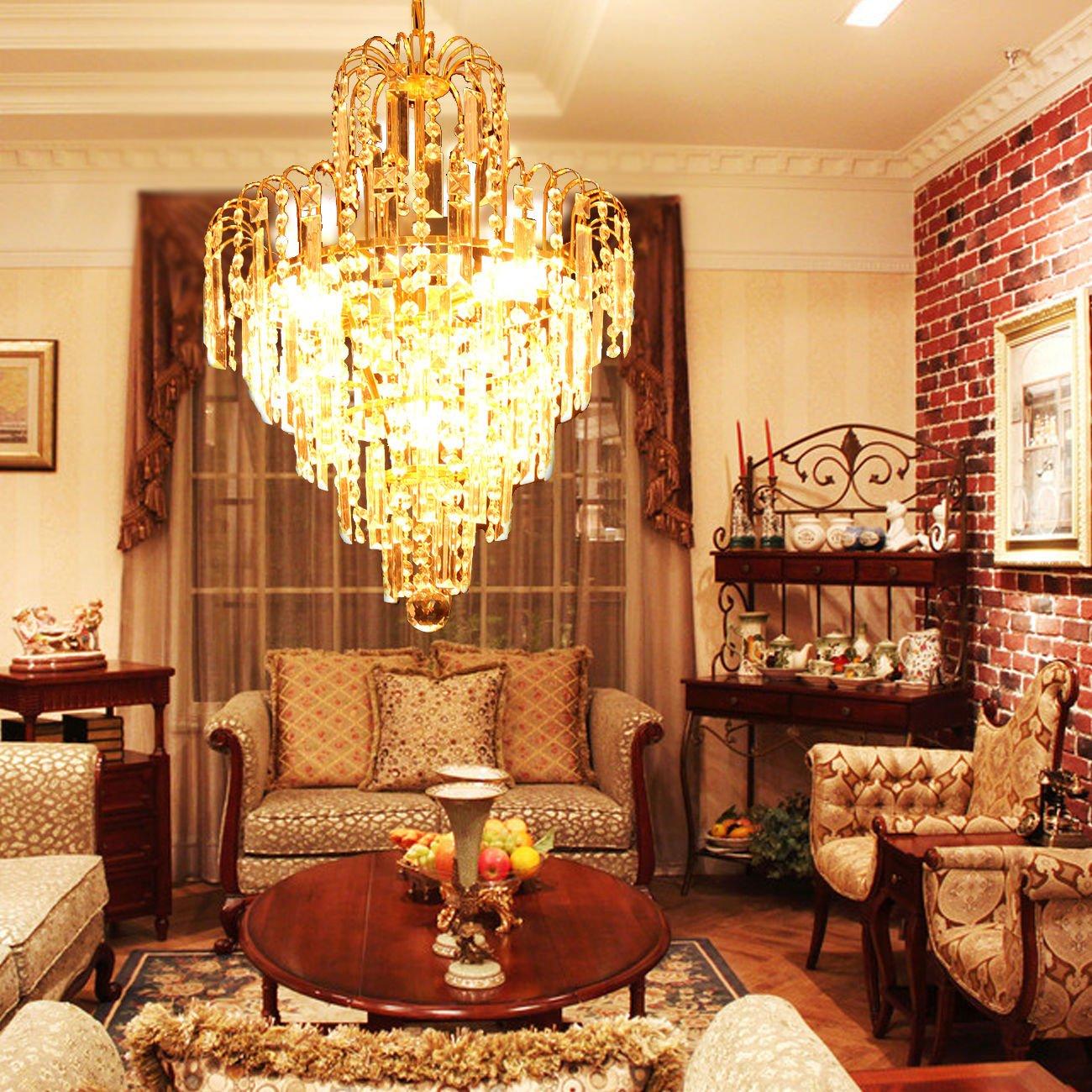 Ridgeyard E12 Luxury Chandelier Ceiling Pendant Light Modern Elegant Crystal Lamp Fixture lighting for Hotel Bedroom Living Room Boutique