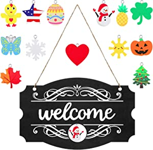 Interchangeable Seasonal Welcome Sign Front Door Decor Rustic Wood Welcome Sign Wall Hanging Porch Decoration for Fall Christmas Easter Valentines Thanksgiving, 14 x 9 Inch (Black with White Letters)