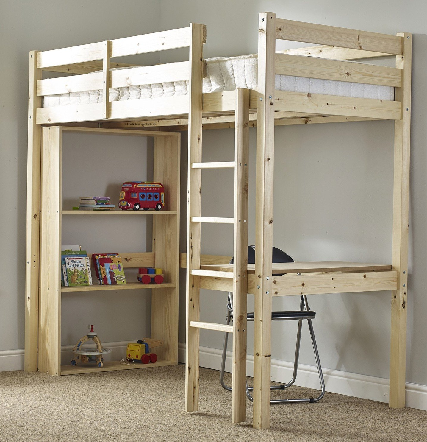 Study Bunk Bed   3ft Single Work Station Bunkbed With Table, Chair And  Bookcase: Amazon.co.uk: Kitchen U0026 Home