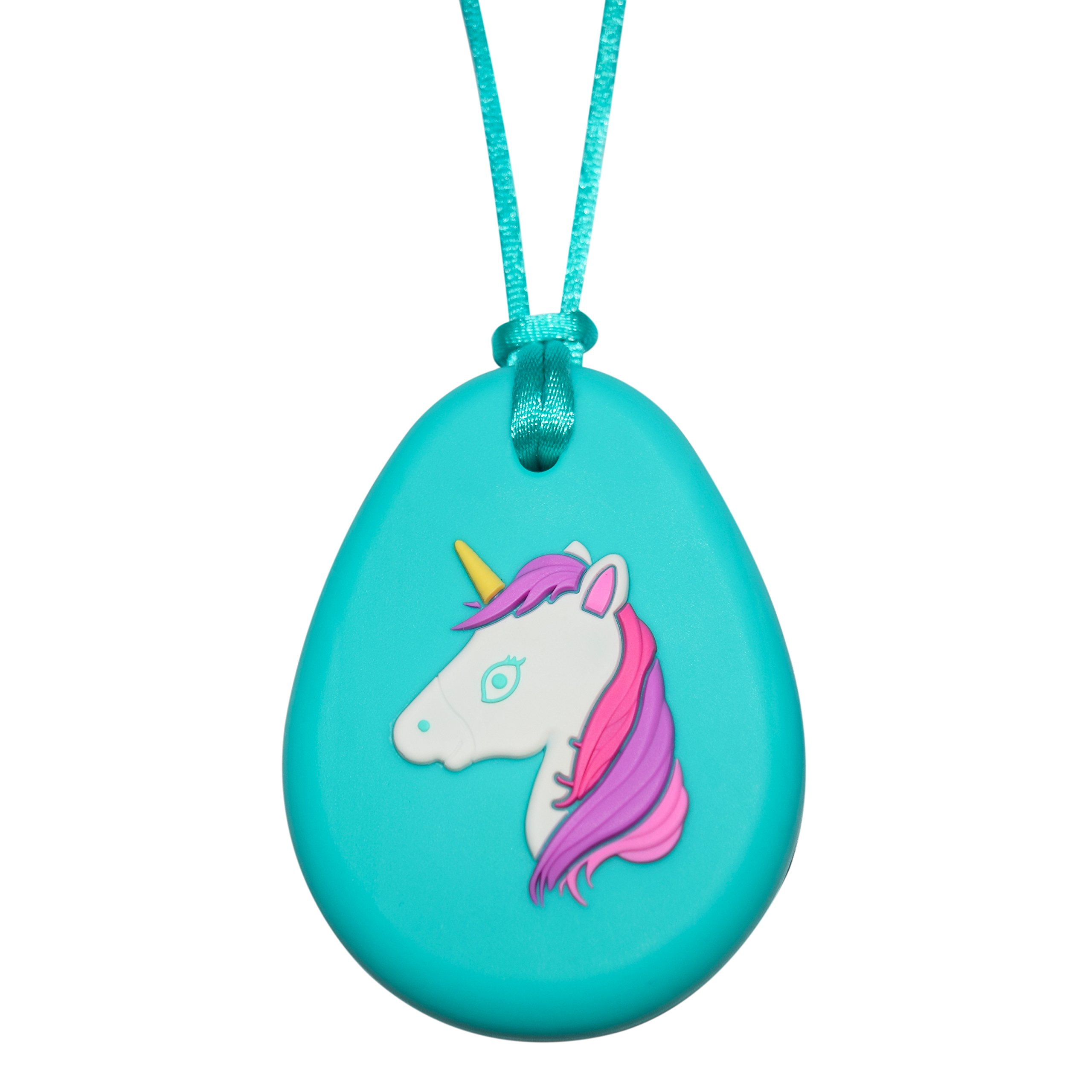 Sensory Oral Motor Aide Chewelry Necklace - Chewy Fidget Toy – Unicorn (Aqua)