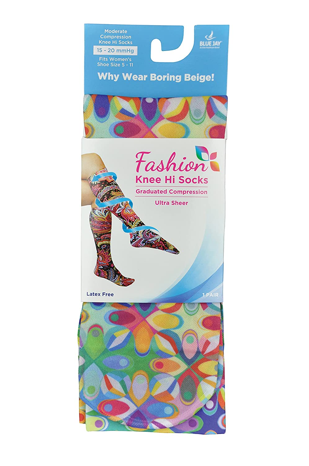 Abstract Colors 1 Pound Complete Medical Manufacturing Group BJ255240 Complete Medical Blue Jay Fashion Socks 15-20 mmHg
