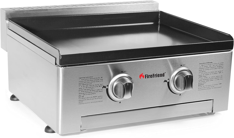 FireFriend BQ-6394 Parrilla de Gas, Dos quemadores, Acero Inoxidable, Negro, 57 x 28 x 60 cm