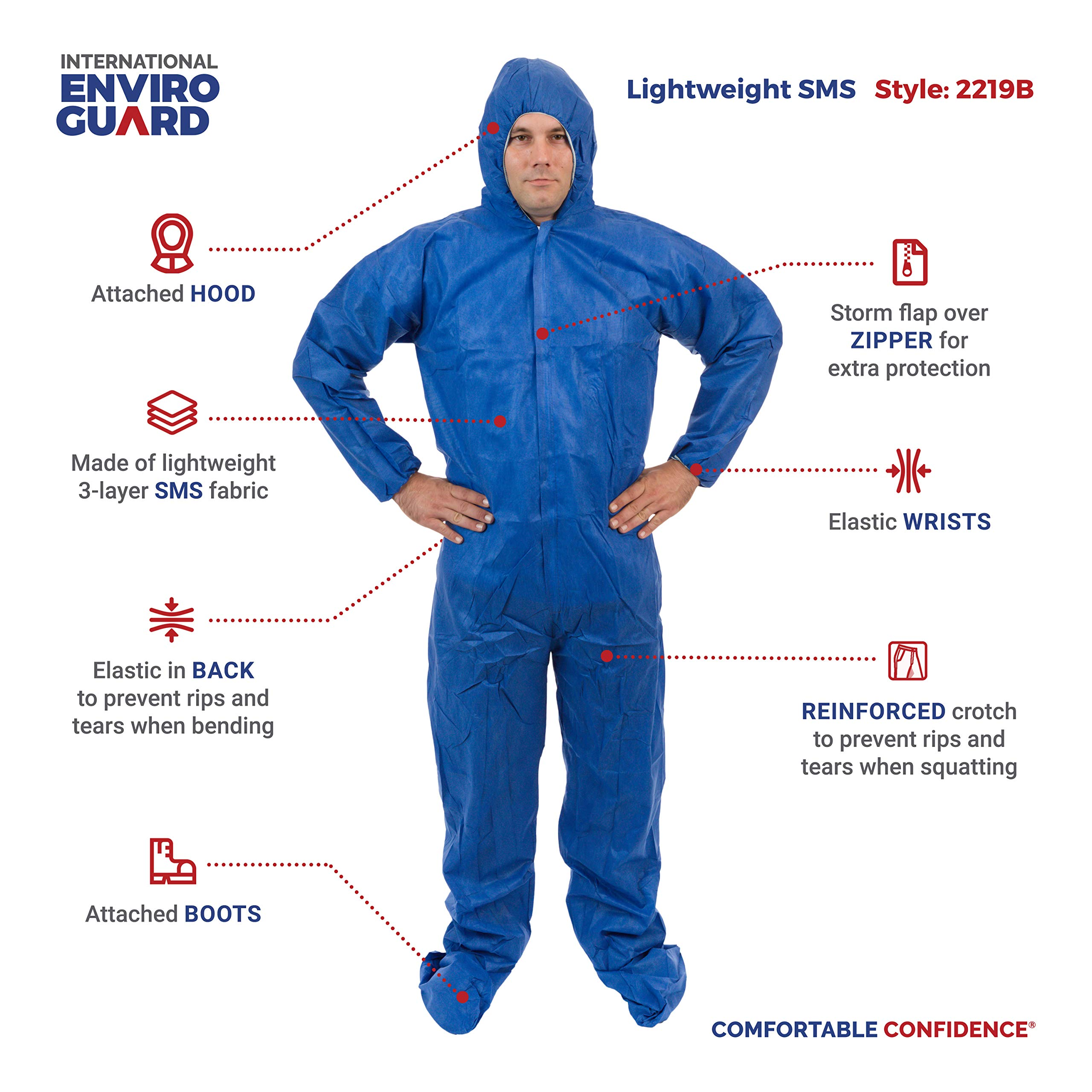 International Enviorugard – Lightweight 3 Layer SMS General Protective Coverall for General Cleanup (25 per case) (3XL, Blue) by International Enviroguard (Image #5)