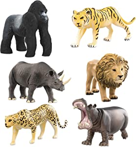 Terra by Battat – Wild Life Set – Realistic Animal Toy Figures with Tiger and Lion Toys for Kids 3+ (6 pc) (AN6062DZ)