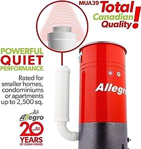 Allegro MUA39 Acoustic Compact 2,500 Square Feet Central Vacuum Power Unit