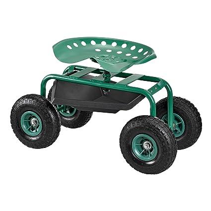 [pro.tec] Asiento móvil para trabajar en jardín scooter [verde] carrito