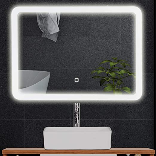 Tangkula Led Bathroom Mirror Rounded Arc Corner Rectangle Wall Mounted Makeup Vanity Mirror Led Light Illuminated Lightning Bath Rectangle Hanging