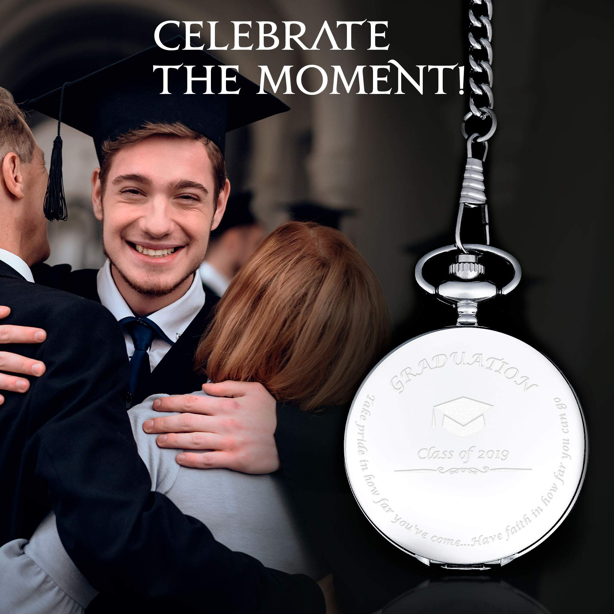 Graduation Gifts for Him - Pocket Watch - Engraved 'Class of 2019' - Perfect College / High School Graduation Gift or Present for Son | Him in 2019 by FREDERICK JAMES (Image #3)