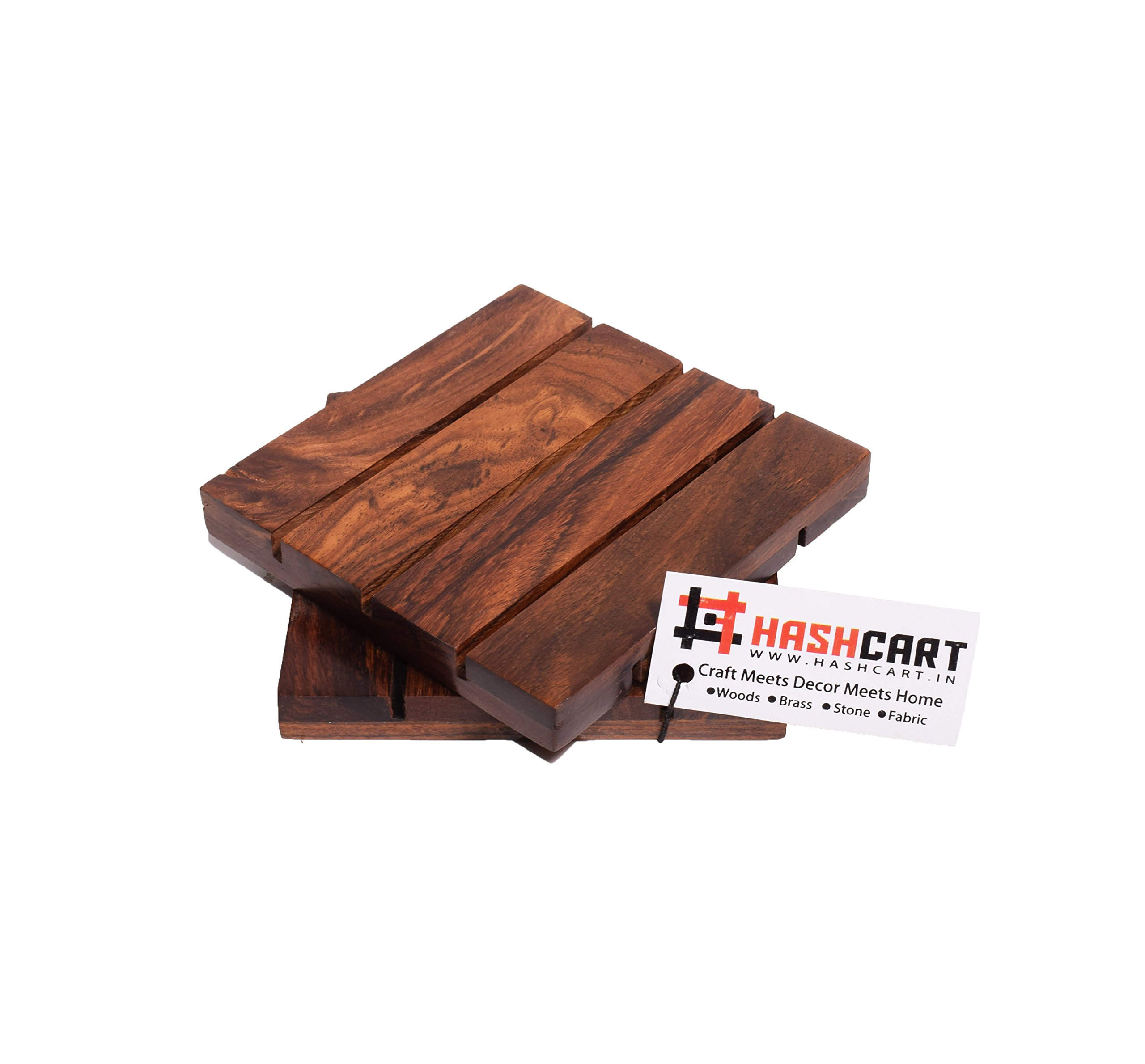 Hashcart Coasters for Drinks-Hot & Cold/Wooden Coaster Sets/Dining, Tea & Coffee Table Decorative Cocktail Coasters in Sheesham Wood | 4x4 inch | Set of 2 by Hashcart (Image #3)