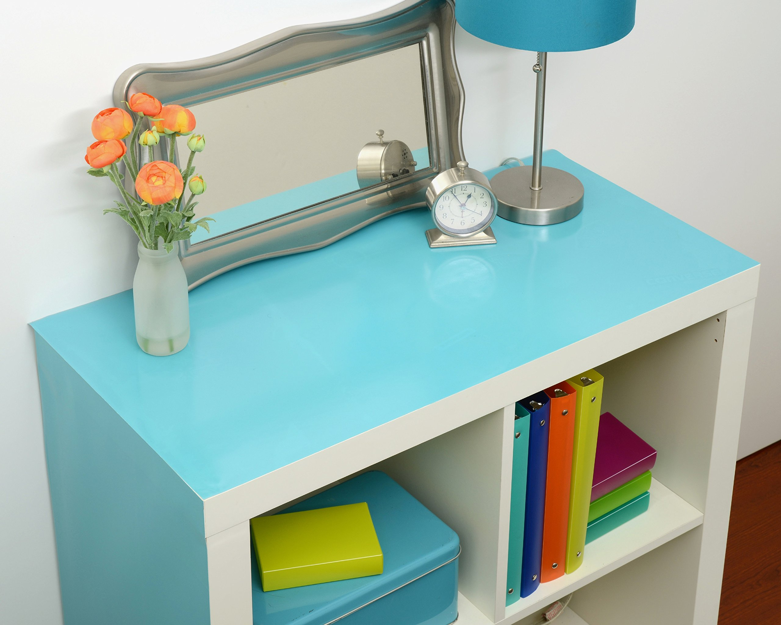 Con-Tact Brand Creative Covering, 20F-C9A3W2-06, Adhesive Vinyl Shelf Liner and Drawer Liner, Teal, 18'' x 20'