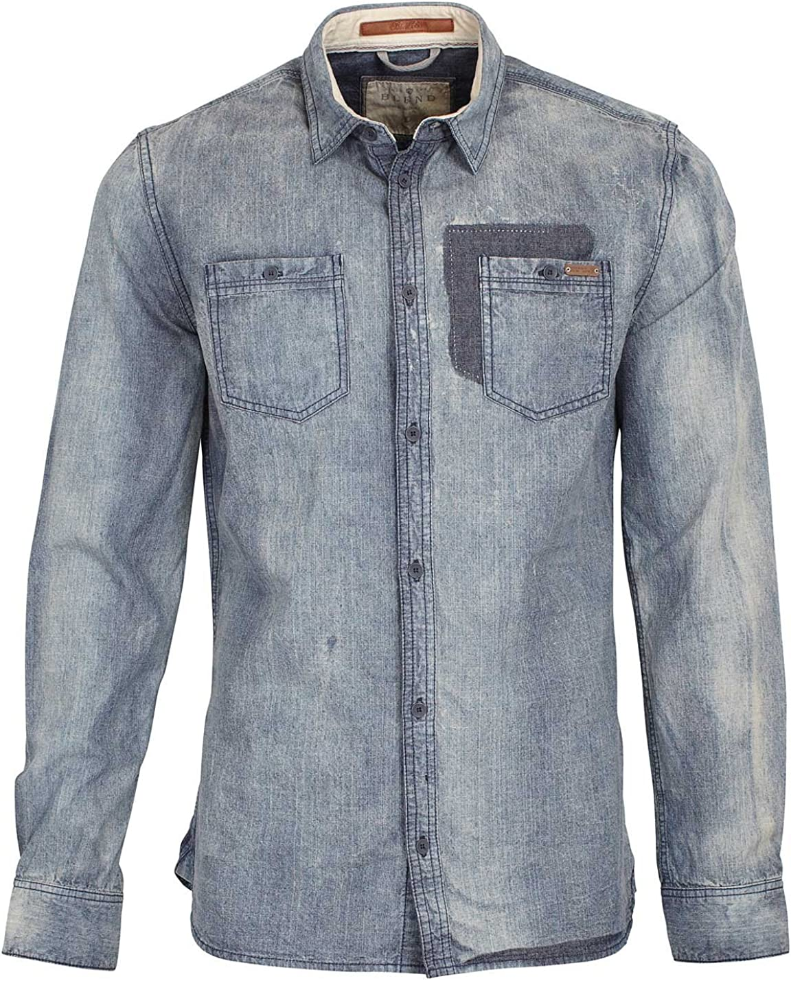 BLEND Mens moda casual piedra lavado Denim Look Chambray Navy camisa