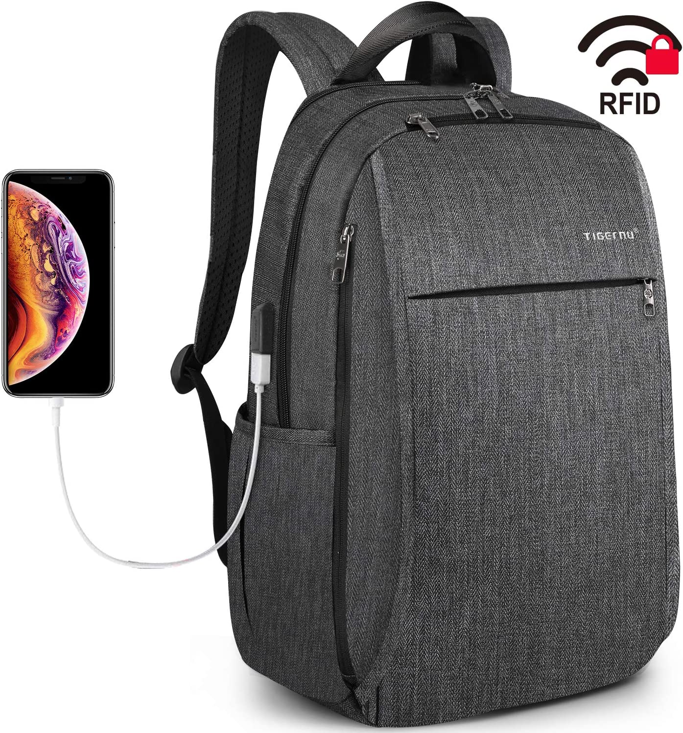 Tigernu Travel Laptop Backpack School Backpacks with USB Charging Port Business RFID Safe Computer Bag Water Resistant Bookbag for College Office Daypacks Men Women fit 15.6 Inch Macbook