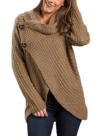 9051b9f18d Amazon.com  Asvivid Womens Turtleneck Cowl Neck Button Asymmetric Wrap Fall  Loose Sweater Pullover Coat Outerwear L Khaki  Clothing