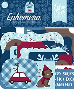 Echo Park Paper Company My Favorite Winter ephemera, red, blue, teal, tan