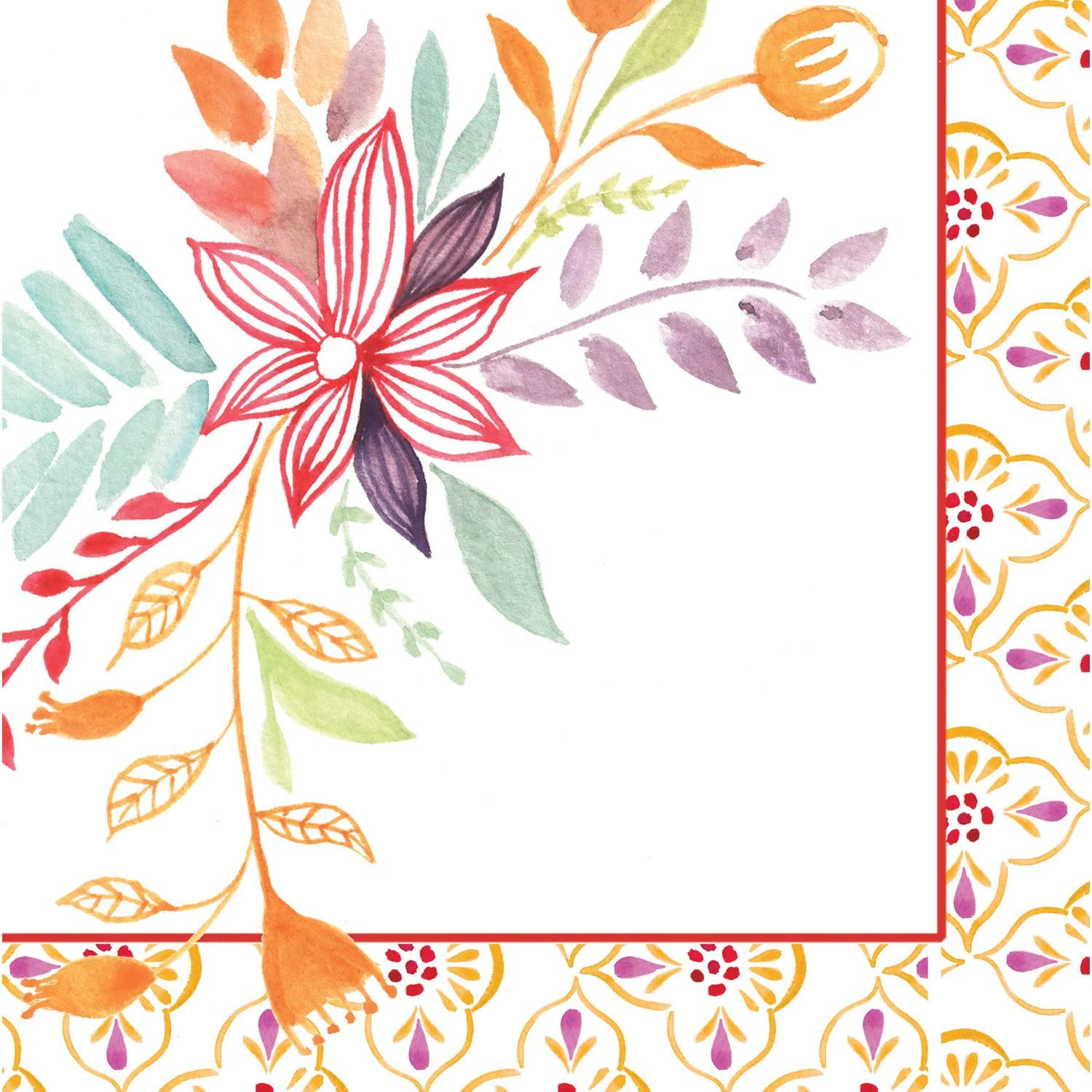 Watercolor Floral Paper Cocktail Napkin, Set of 20-5 x 1 x 5 Inches
