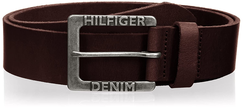 Hilfiger Denim Mens Original Leather THD Logo Belt Brown