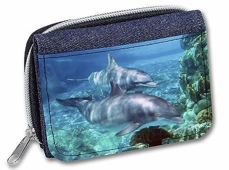 Cartera con diseño de delfines, tela vaquera