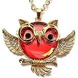 Vintage Bronze Antique black eyed owl Hibou rétro collier