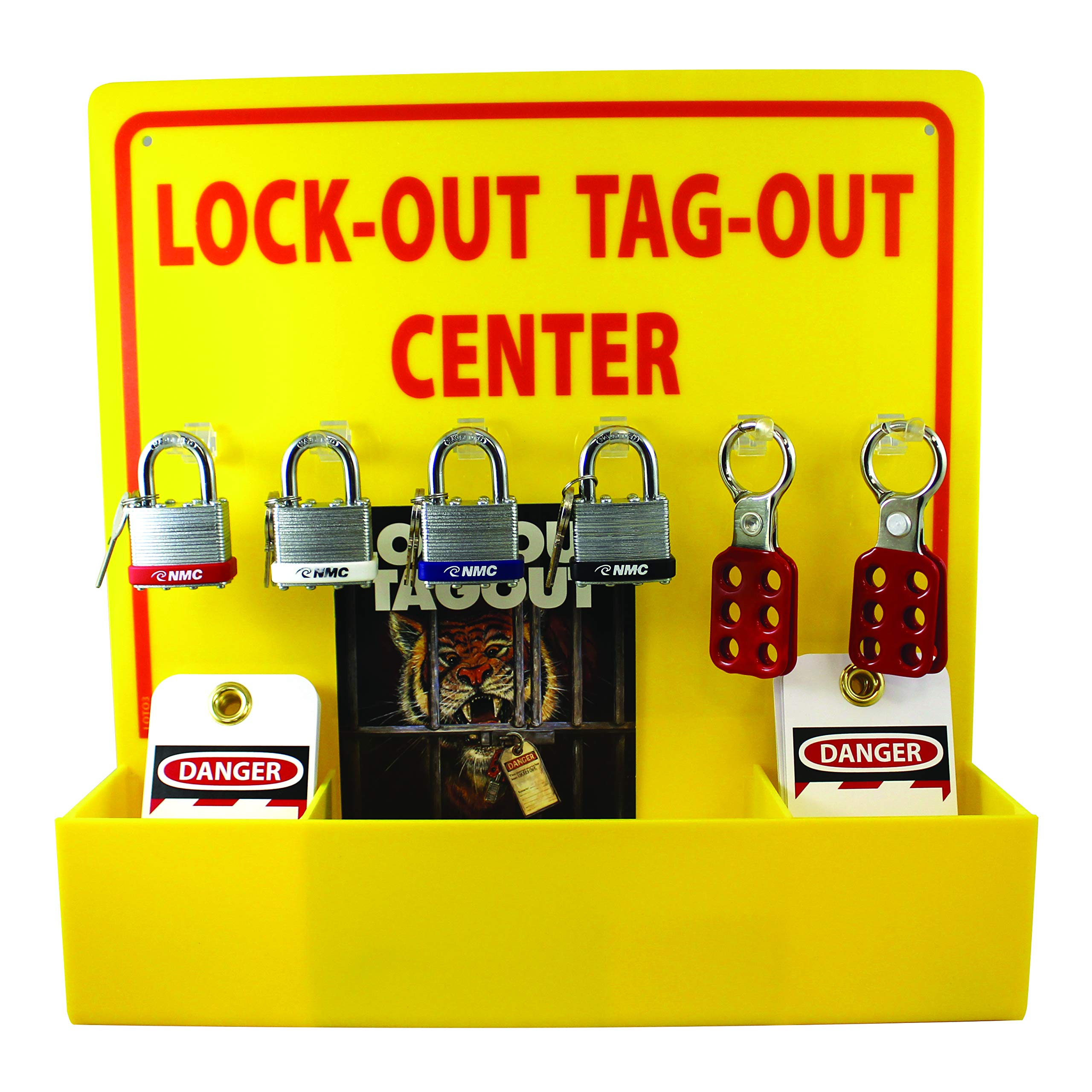 NMC LOTO3 Lock-Out Tag-Out Center Kit with Handbook and 10 Lockout Tags, 16'' Width X 16'' Height, Acrylic, Yellow by NMC