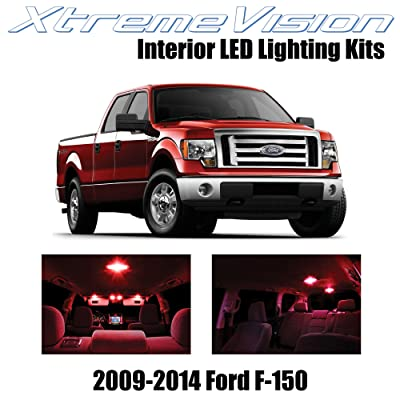 Xtremevision Interior LED for Ford F-150 2009-2014 (12 Pieces) Red Interior LED Kit + Installation Tool: Automotive