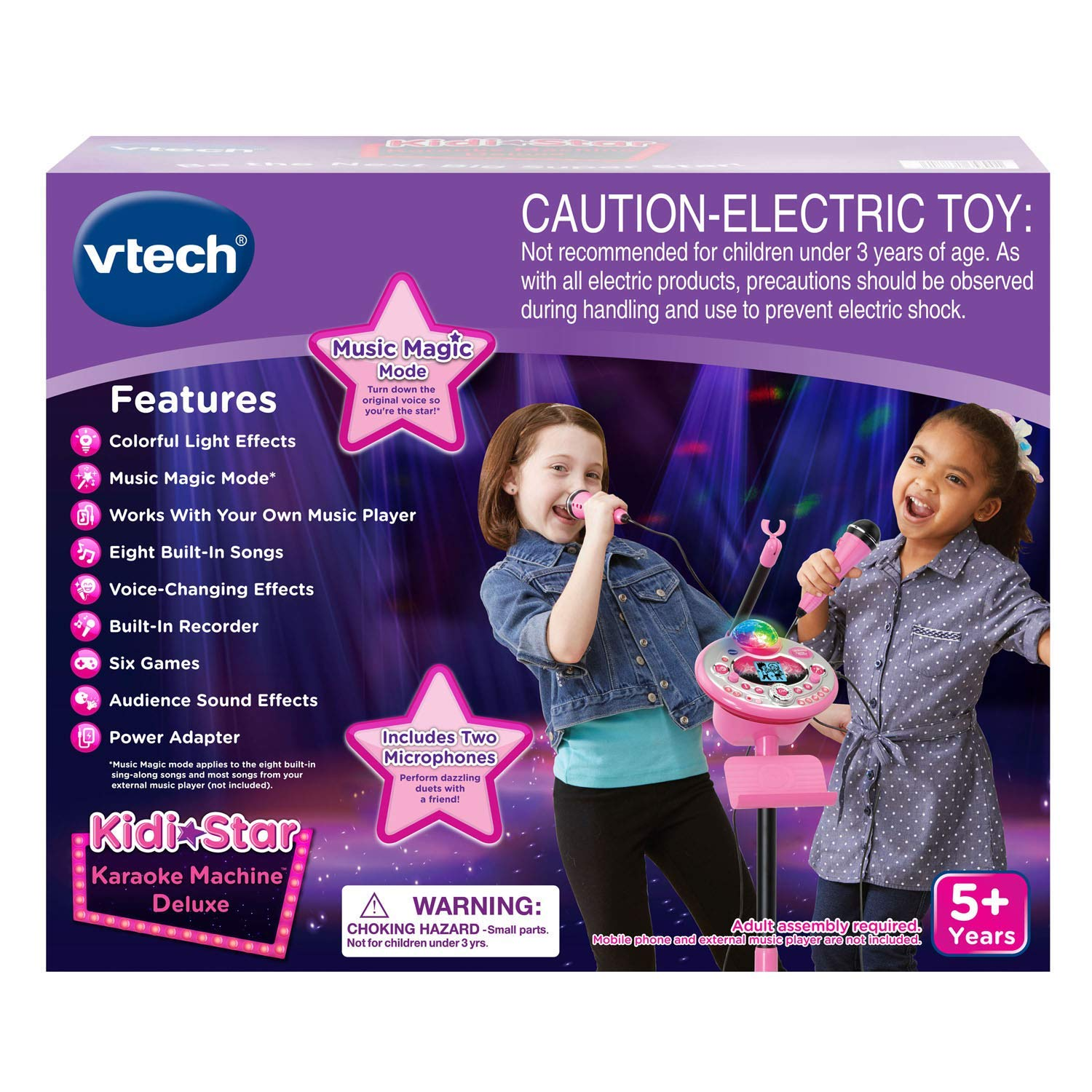 VTech Kidi Star Karaoke System 2 Mics with Mic Stand & AC Adapter, Pink (Renewed) by VTech (Image #7)