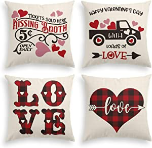 AVOIN Buffalo Plaid Love Kissing Booth Truck Throw Pillow Cover, 18 x 18 Inch Love Heart with Arrow Cushion Case for Sofa Couch Set of 4