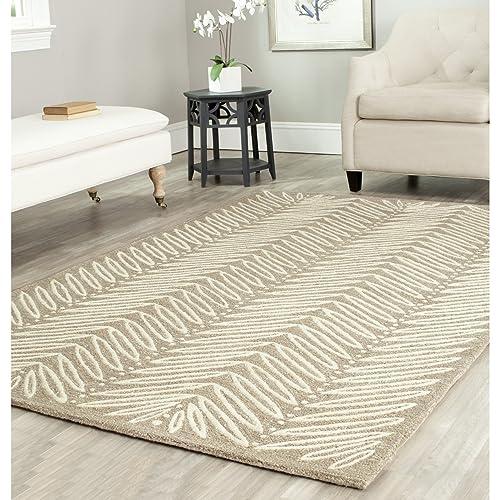 Safavieh Martha Stewart Collection MSR3612A Premium Wool and Viscose Chamois Beige Area Rug 5 x 8