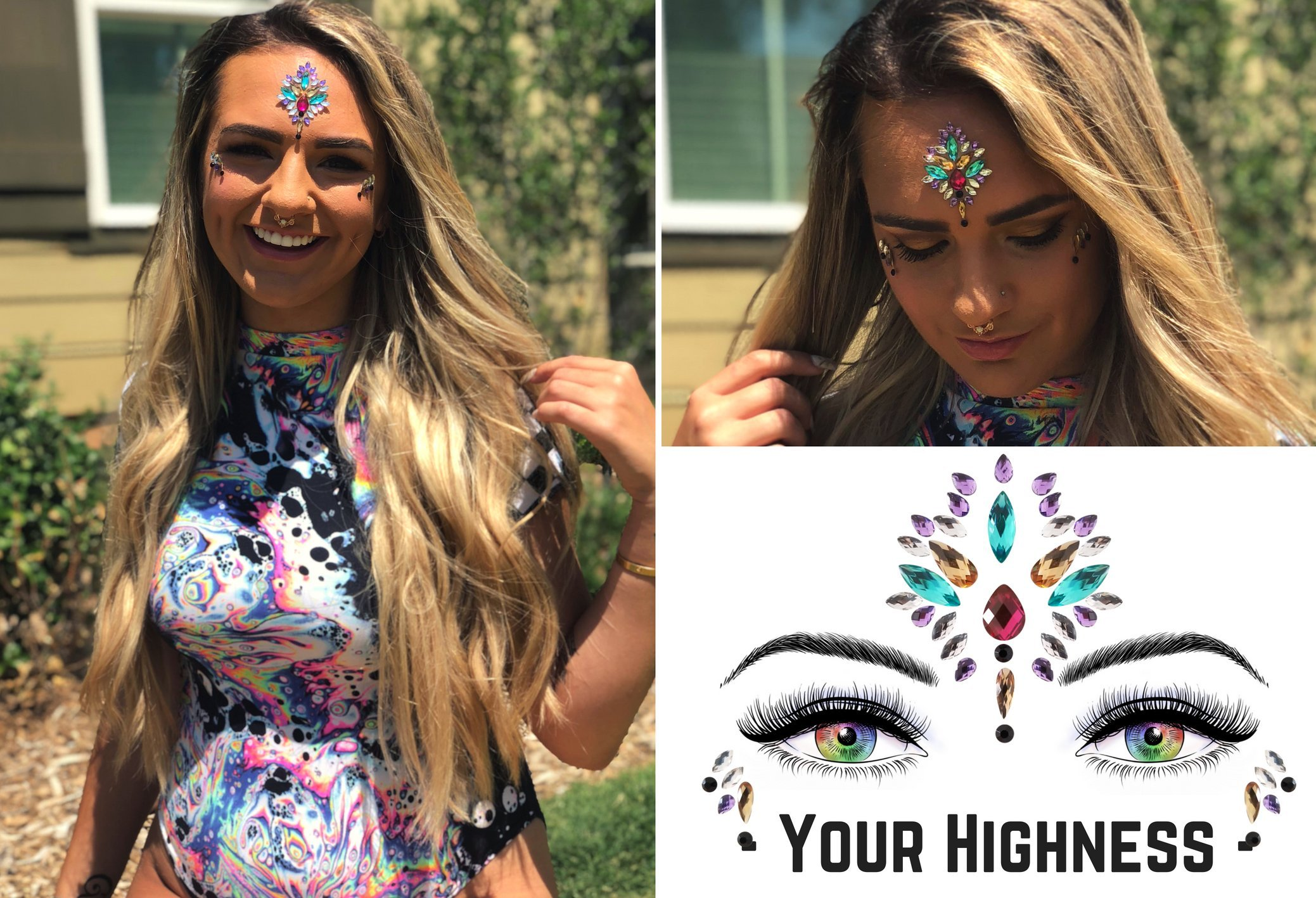 6 Stick On Face Jewels Sets, Gems, Glitter, Gem-Stones, Rhinestones Stickers, Temporary Tattoo - Self-Adhesive, Bindi, Indian, Mermaid Crystals. Accessories For Body, Women, Festivals, Rave, or Party by Luxxe Hour (Image #2)
