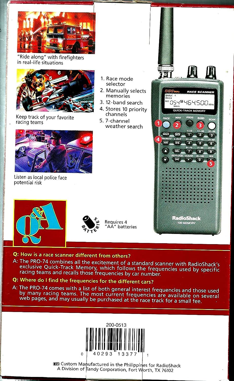 VHF//UHF//Air//800MHz Race Scanner Radio Shack PRO-74