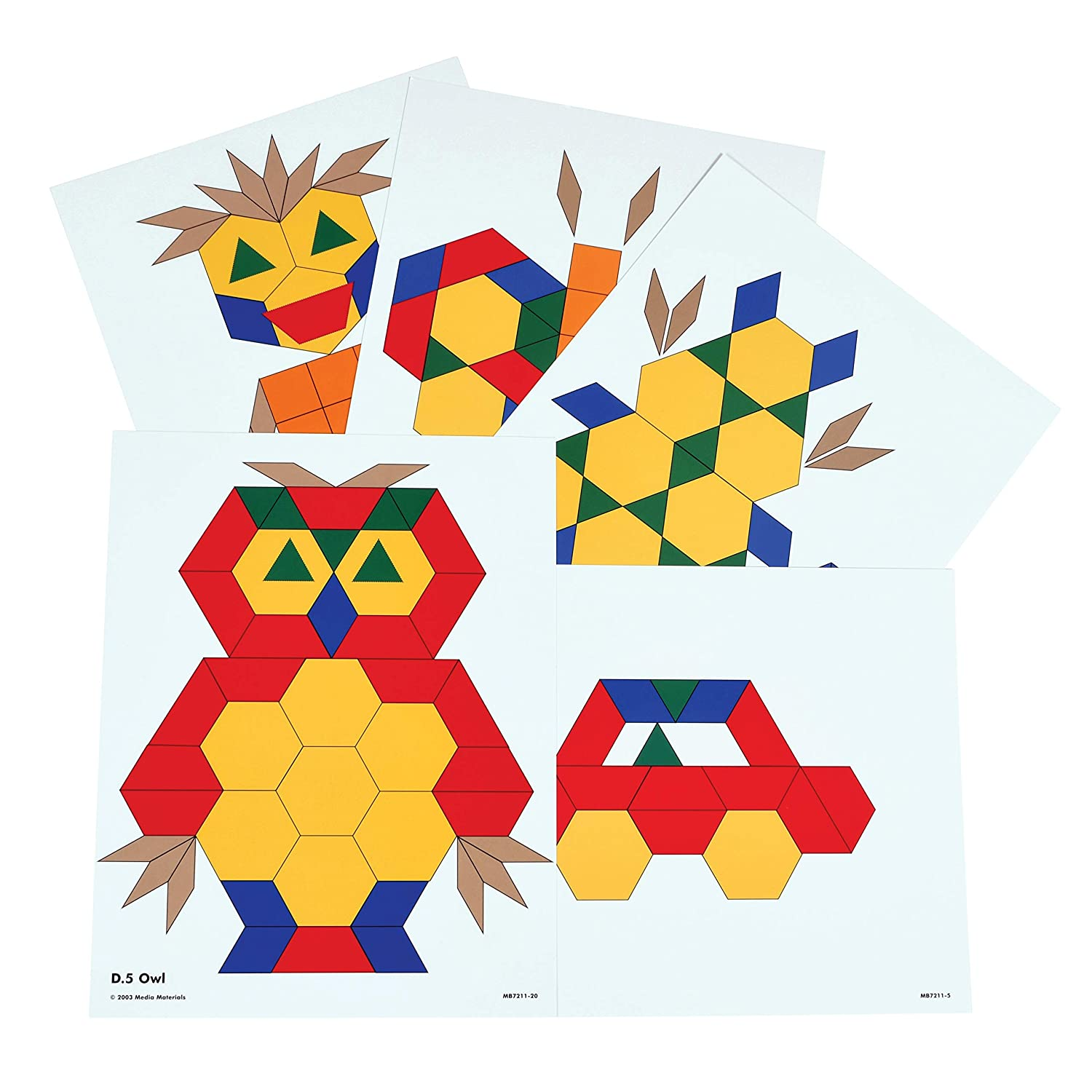 Learning Advantage Pattern Block Activity Cards - In Home Learning Activity for Early Math & Geometry - Set of 20 - Teach Creativity, Sequencing and Patterning