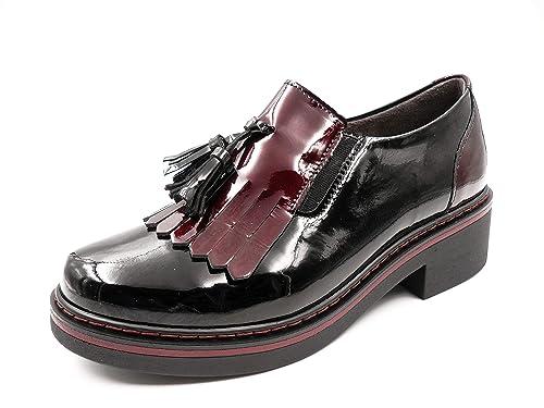 Zapatos Mujer Tipo Oxford Marca Pitillos - Charol Negro Combi Charol Burdeos, Adorno Flecos/
