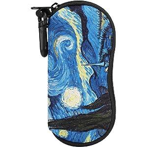 メガネケース ATiC メガネポーチ 柔らかいネオプレン製 防滴可能 擦り傷防止 小物入れ フック付き 持ち運びには便利 - 星空 - ファスナー式