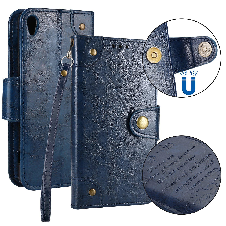 Sony Xperia XA Hülle Leder Retro, Lomogo Schutzhülle Brieftasche mit Kartenfach Klappbar Magnetverschluss Stoßfest Kratzfest Handyhülle Case für Sony Xperia XA - LOHHA10324 Braun