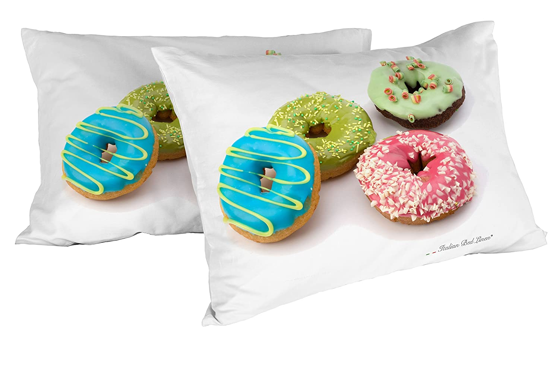 d782b88365 Italian Bed Linen 8058575006974 Coppia di Federe Stampata in Digitale Mis  52 x 82 cm con Patella Interna, Ciambelle Donuts, Multicolore, 100% Cotone,  ...