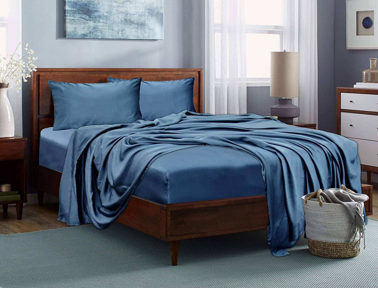 LINENWALAS 100% Tencel Duvet Cover Set with Zipper Closure - Softest Cooling Eucalyptus Bedding (King/California King, Bahamas Blue)