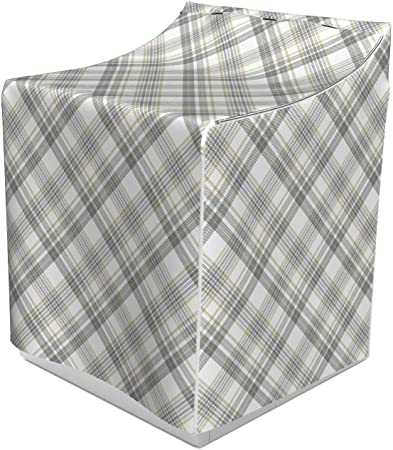 29 x 28 x 40 Suitable for Dryer and Washing Machine Lunarable Plaid Washer Cover Dimgray Dusk and White Continuous Layout of Overlapping Streaks Abstract Geometrical Design