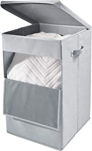 iDesign Codi Fabric Laundry Bin with Lid, 22 Inches - Gray