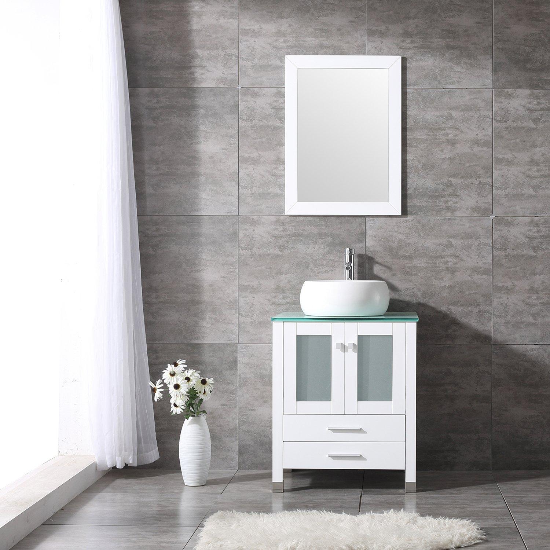"BATHJOY 24"" Bathroom Wood Vanity Set Cabinet Round Ceramic Vessel Sink Top Faucet Combo with Mirror by BATHJOY"