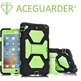 iPad Mini 3 Case, ACEGUARDER Full Body Protective Cover (Impact Resistant) (Shockproof) (Scratchproof) with Built-in Screen Protector & Adjustable Kickstand for Apple iPad Mini 1 2 3 (Black Green)