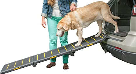 Pet Gear Tri Fold Ramp 71 Inch Long Extra Wide Portable Pet Ramp For Dogs Cats Up To 200lbs Patented Compact Easy Fold With Safety Tether Black Yellow Reflective Extra Wide Extra Wide Tri Fold