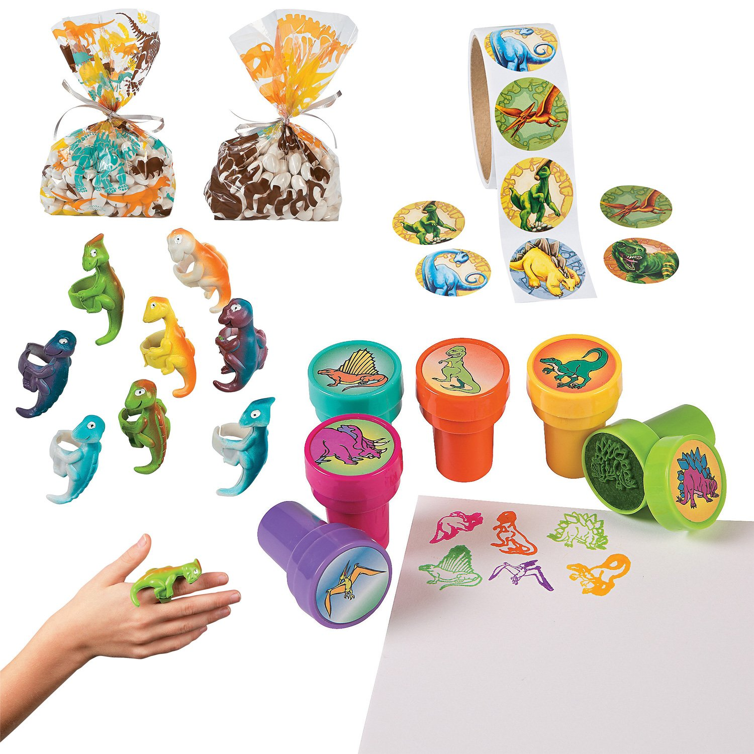 William & Douglas Dinosaur Party Bundle | Supplies Favors and Giveaways for Children's Dinosaur Birthday Party | Dinosaur Stickers, Cellophane Bags, Rings & Stampers by William & Douglas (Image #1)