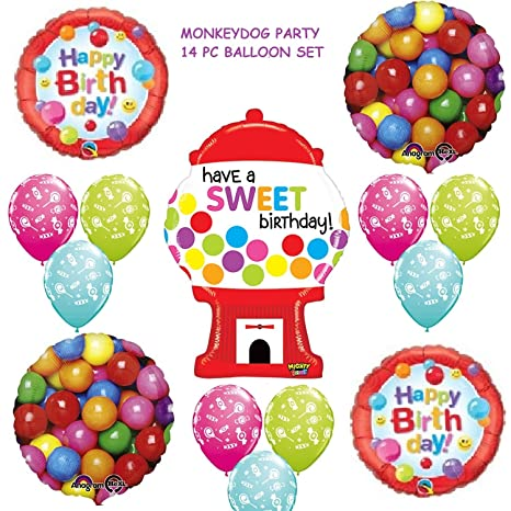 14 Pc BALLOON Set GUMBALL Candy SWEET BIRTHDAY Crush PARTY Favors GIFT