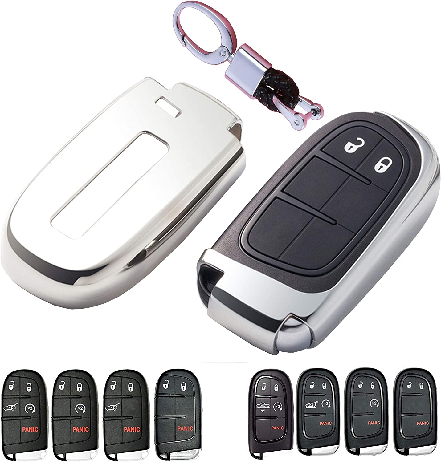 The Best Premium Soft TPU Half Cover Protection Smart Remote Keyless Key Fob Case With Key Chain Fit For Jeep//Dodge//Chrysler Key Fob