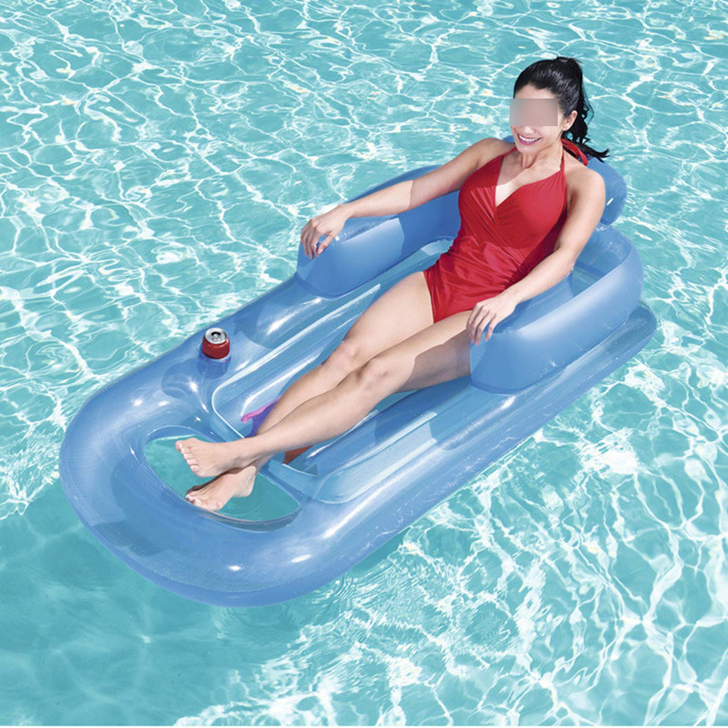 QIUHUAXIANG Inflatable Floating Row 157X89Cm Beach Swimming Air Mattress Pool Floats Floating Lounge Sleeping Bed for Water Sports Party,Random Color by QIUHUAXIANG (Image #2)