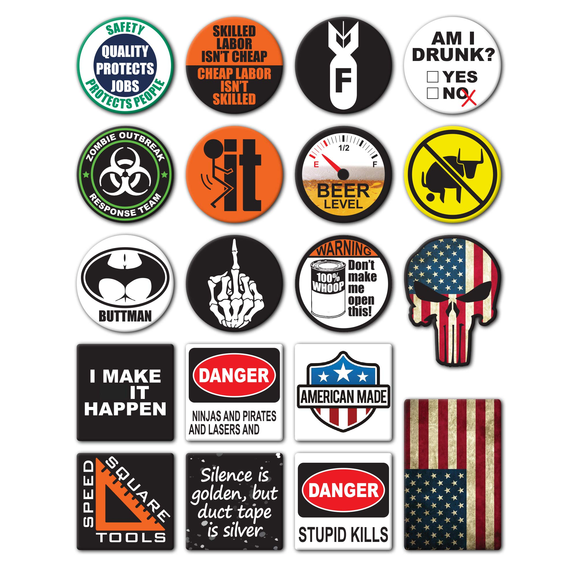 19-Pack Hard Hat, Tool Box Stickers | 100% Vinyl | Proudly MADE IN USA! Funny decals for Construction, Electrician, Union, Oilfield, Military, Fire Crew, Mechanics | Display your American Flag! by SpeedSquare Tools
