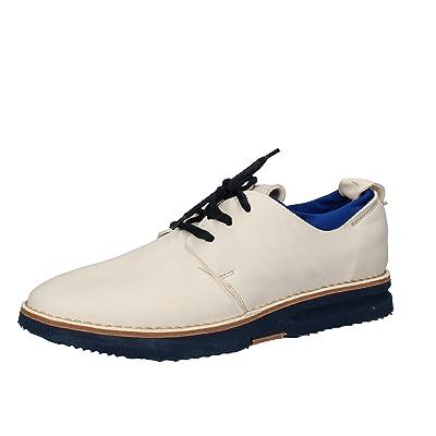 MOMA Men's Elegant / Oxford-shoes 9 US / 42 EU White Blue Leather Textile AE984