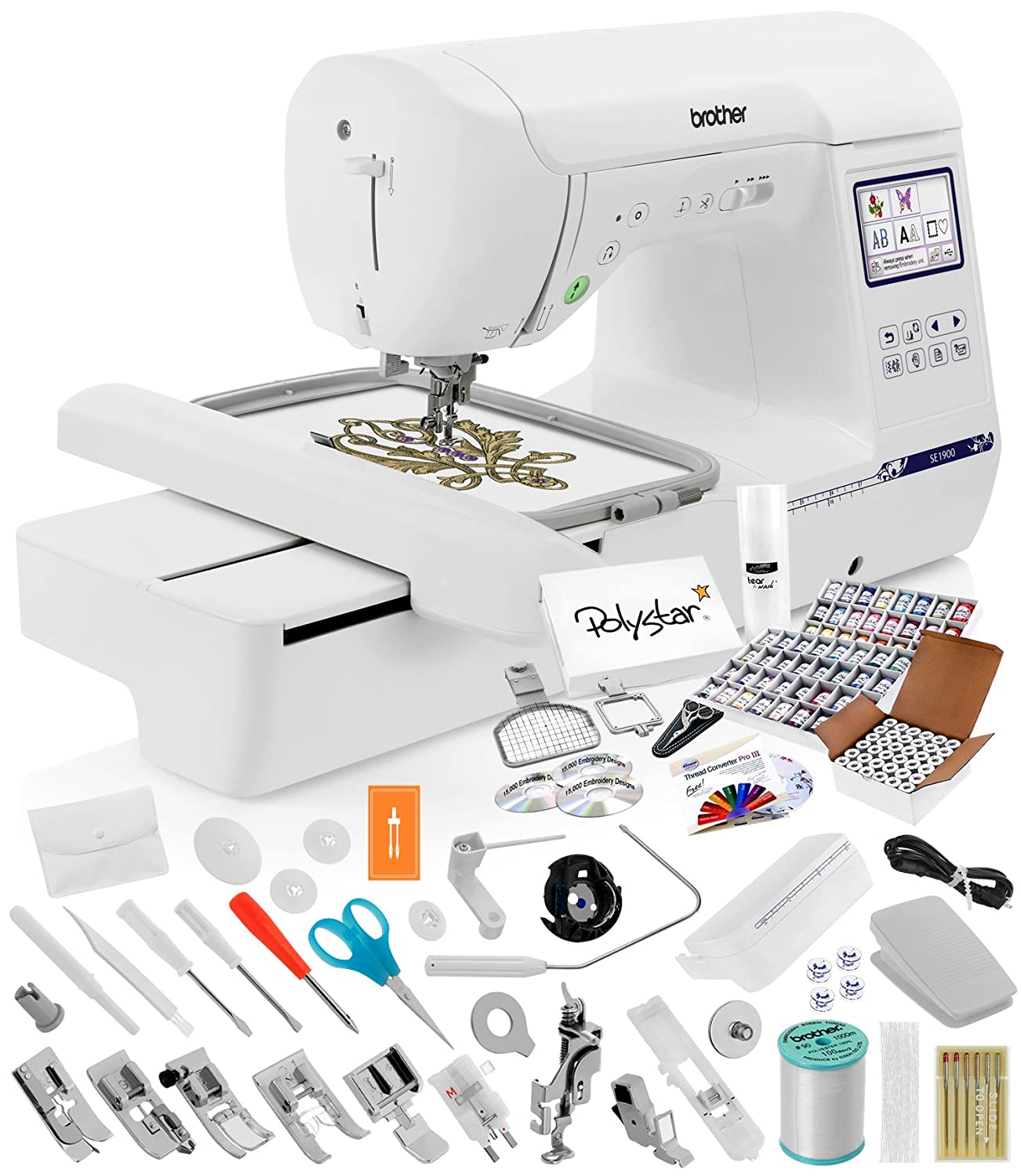 Brother SE1900 Sewing Embroidery Machine + Grand Slam Package Includes 64 Embroidery Threads + Prewound Bobbins + Cap Hoop + Sock Hoop + Stabilizer + 15,000...