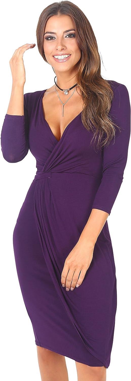 TALLA 40. KRISP Vestido Moda Mujer Fruncido Morado (6174) 40